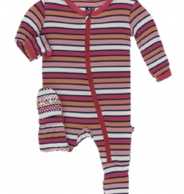 kickee pants botany red ginger stripe footie with zipper