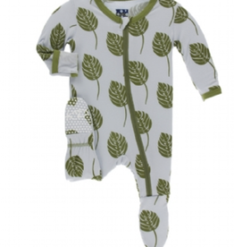 kickee pants dew philodendron footie with zipper