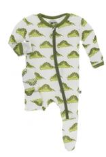 kickee pants natural caterpillars footie with zipper