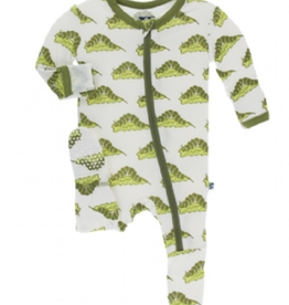 kickee pants natural caterpillars footie with zipper