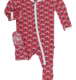 kickee pants red ginger mini trees footie with zipper