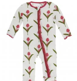 kickee pants natural red ginger flowers muffin ruffle coverall with zipper