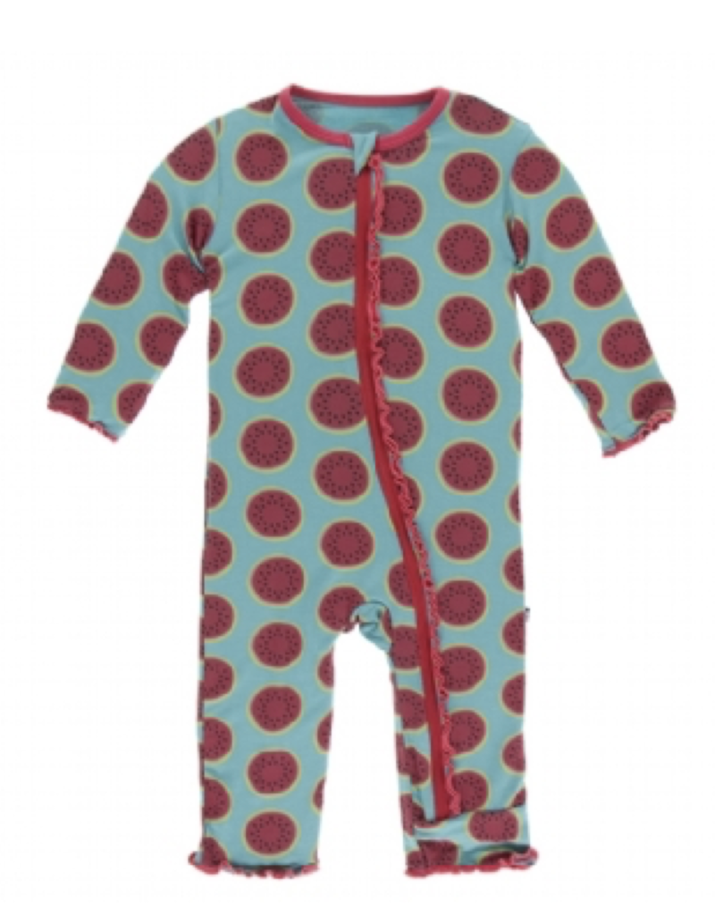 kickee pants neptune watermelon muffin ruffle coverall with zipper