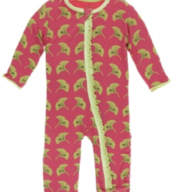 kickee pants red ginger ginkgo muffin ruffle coverall with zipper