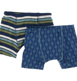 kickee pants botany grasshopper stripe and navy lattice leaf boxer briefs set