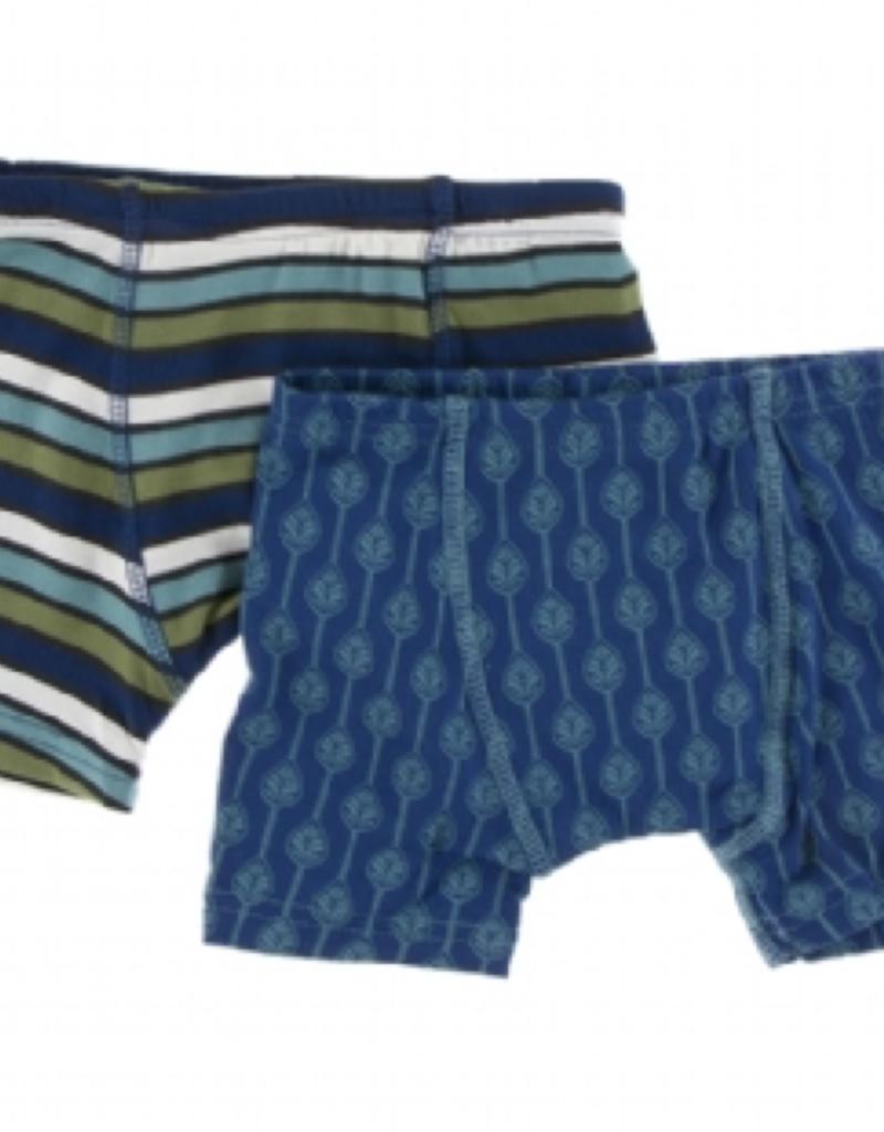 kickee pants botany grasshopper stripe and navy lattice leaf boxer briefs set