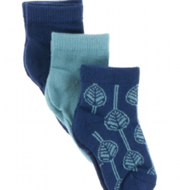kickee pants navy, neptune and navy leaf low sock set