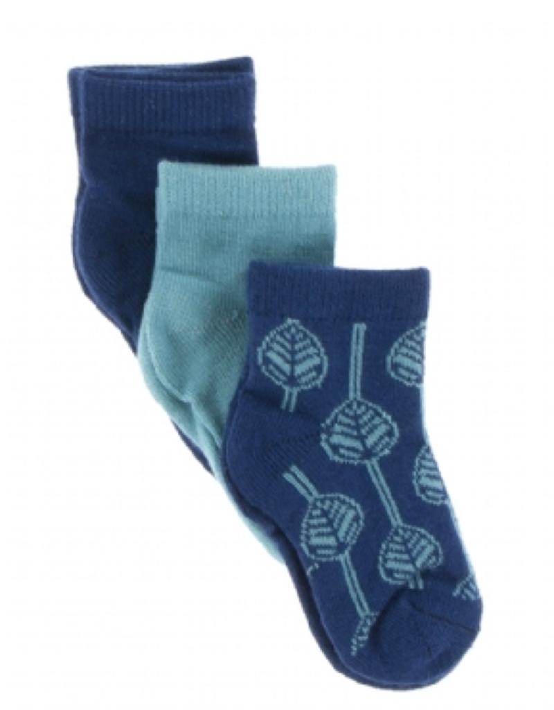 kickee pants navy, neptune and navy leaf low sock set