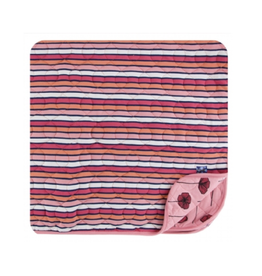 kickee pants botany red ginger stripe/strawberry poppies quilted toddler blanket