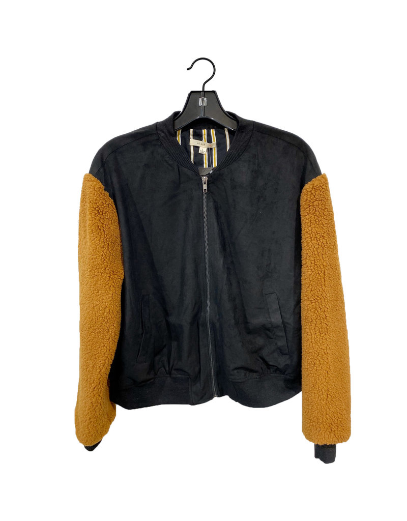 camel fuzzy bomber jacket