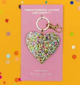 confetti acrylic heart keychain