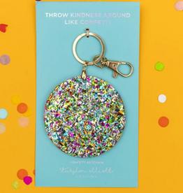 confetti acrylic circle keychain