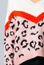 leopard color block sweater