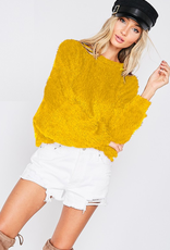 shaggy knit boat neck top