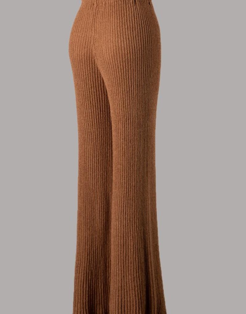 high waisted knit palazzo pants
