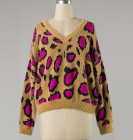 leopard combo knit sweater