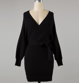 wrap body knit sweater dress