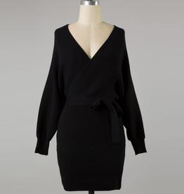 wrap body knit sweater dress