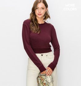 cropped fitted crew neck top