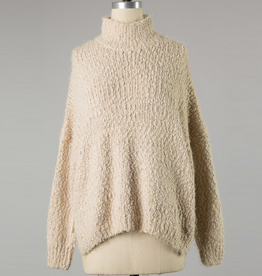 high neck solid popcorn knit sweater