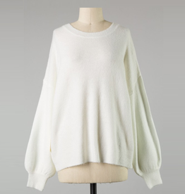 bubble sleeve cozy knit sweater