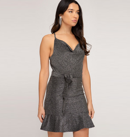cowl neck lurex knit cami dress with waist tie