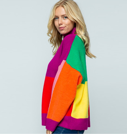 color block long sleeve turtle neck sweater