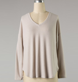 brushed v-neck long sleeve top