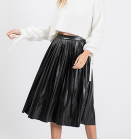 pleated faux leather midi skirt