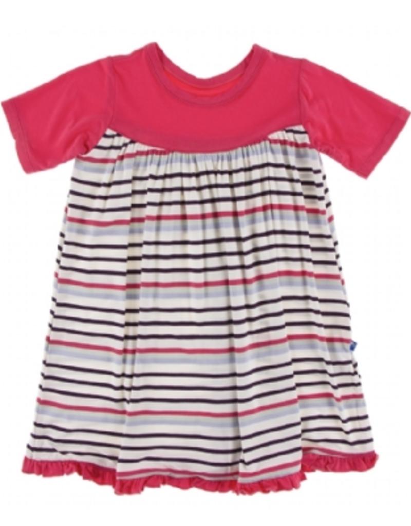 kickee pants chemistry stripe classic short sleeve swing dress