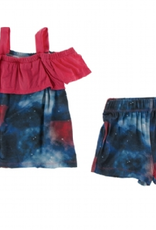 kickee pants red ginger galaxy off-shoulder outfit set