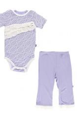 kickee pants lilac double helix ruffle pant set