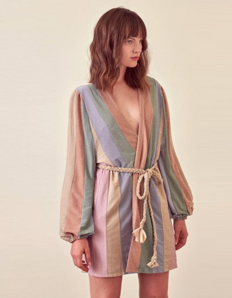 striped shimmer wrap dress
