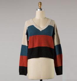 color block v neck sweater