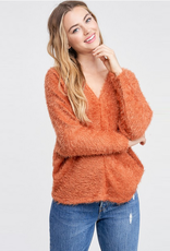 fuzzy v neck sweater