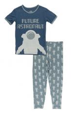 kickee pants dusty sky astronaut short sleeve piece pajama set