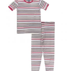 kickee pants chemistry stripe short sleeve pajama set