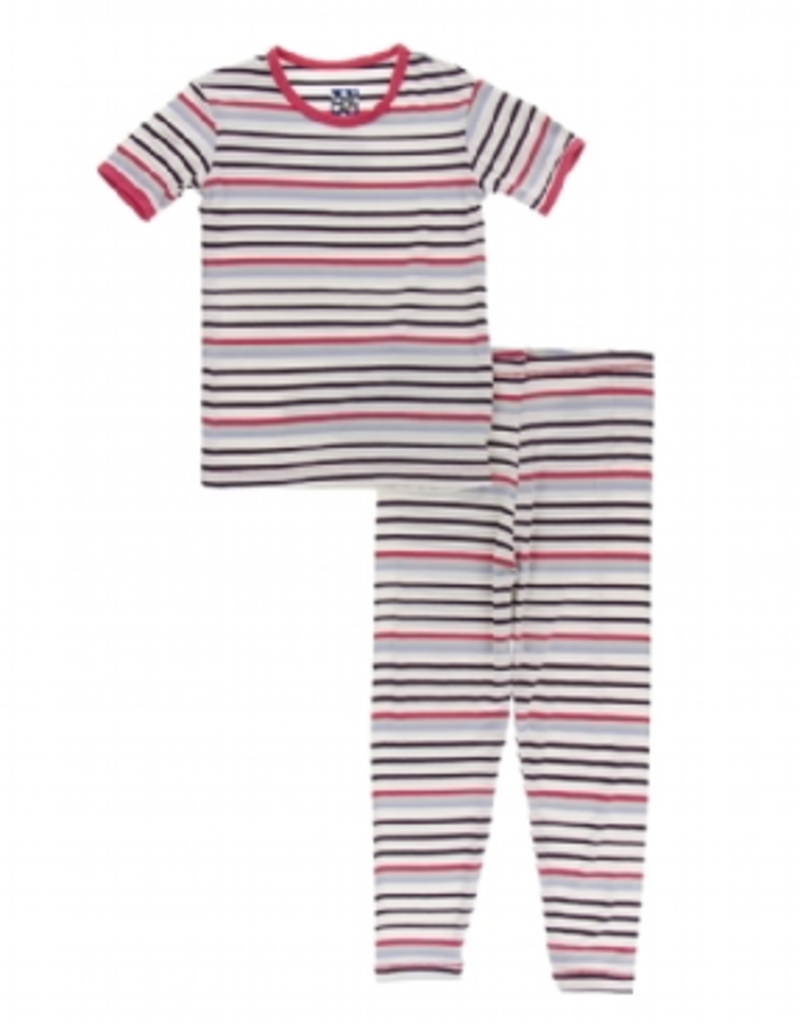 kickee pants chemistry stripe short sleeve pajama set