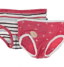 kickee pants chemistry stripe & red ginger full moon girls underwear set