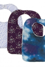 kickee pants lilac double helix, wine grapes atoms & wine grapes galaxy bib set