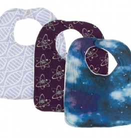 kickee pants lilac double helix, wine grapes atoms & wine grapes galaxy bib set