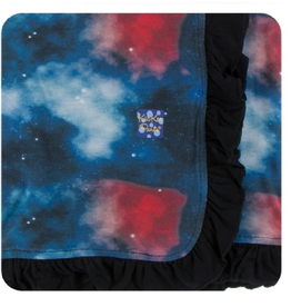 kickee pants red ginger galaxy ruffle stroller blanket
