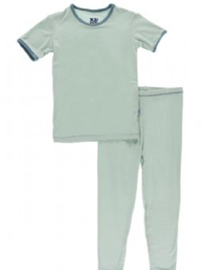 kickee pants aloe with dusty sky short sleeve pajama set