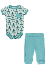 kickee pants aloe aliens with flying saucers short sleeve pocket one piece and pant outfit set