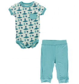 kickee pants aloe aliens with flying saucers pocket outfit set