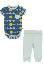 kickee pants twilight planets short sleeve pocket one piece and pant outfit set
