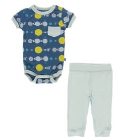 kickee pants twilight planets short sleeve pocket outfit set