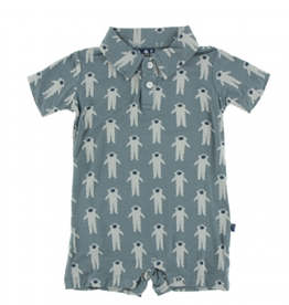 kickee pants dusty sky astronaut short sleeve polo romper