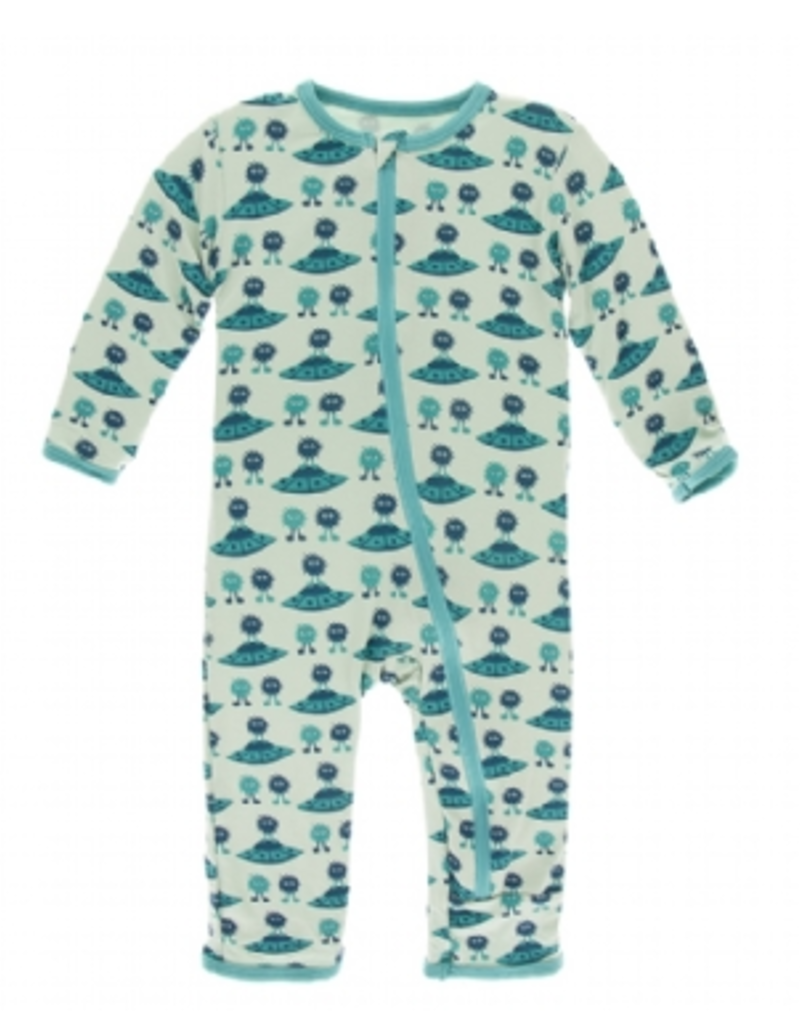 kickee pants aloe aliens with flying saucers coverall with zipper