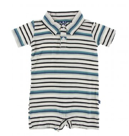 kickee pants neptune stripe short sleeve polo romper